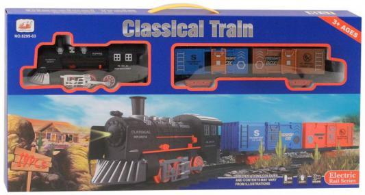 Купить Железная дорога-классика на бат., 19 деталей, электровоз/2 вагона, свет, звук, в/к 53*6*26 см, best toys, Детская железная дорога