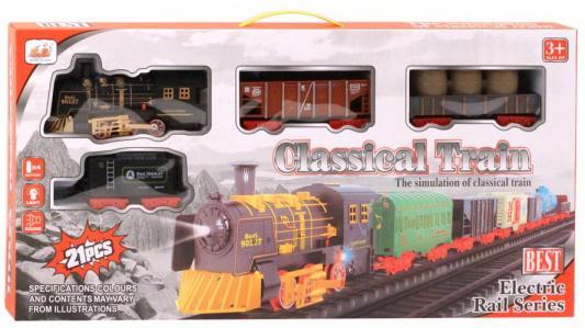 Купить Железная дорога-классика на бат., 21 деталь, электровоз/3 вагона, свет, звук, эффект, в/к 59*5, 5*29, 5 см, best toys, Детская железная дорога
