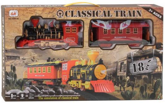 Железная дорога-классика на бат., электровоз/1 вагон, 18 деталей, свет, звук, в/к 48*6*27 см