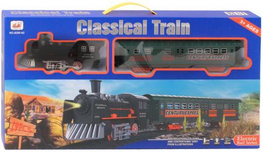 Купить Железная дорога-классика на бат., электровоз/1 вагон, 19 деталей, свет, звук, в/к 53*6*27 см, best toys, Детская железная дорога