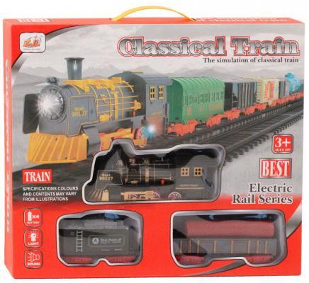 Купить Железная дорога-классика на бат., электровоз/2 вагон, свет, звук, в/к 38*6*32 см, best toys, Детская железная дорога