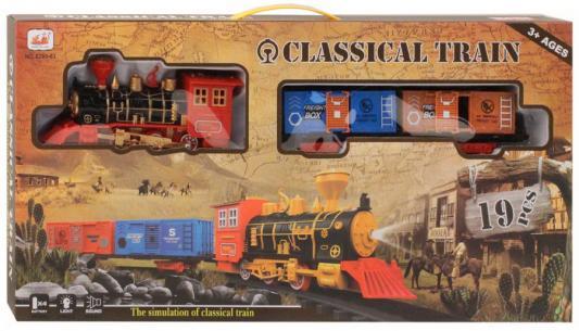 Железная дорога-классика на бат., электровоз/2 вагона, 19 деталей, свет, звук, в/к 55*6*27,5 см