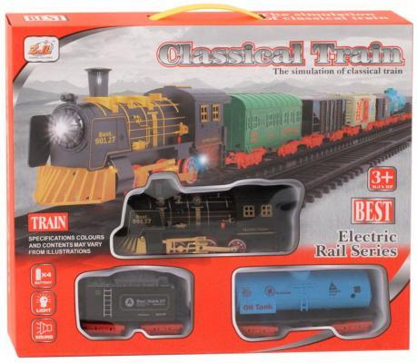 Купить Железная дорога-классика на бат., электровоз/2 вагона, свет, звук, в/к 38*6*32 см, best toys, Детская железная дорога