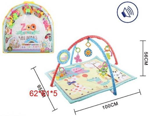 Детский мягкий коврик Друзья, квадратной формы, мягкие дуги, подвески, безопасное зеркало, звук. эффект, в/п 62*61*5 см