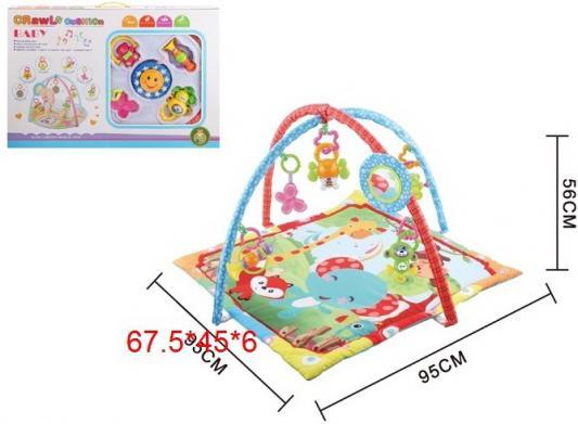 Детский мягкий коврик Слоник и друзья квадратной формы, мягкие дуги, подвески, безопасное зеркало, в/к 67,5*45*6 см