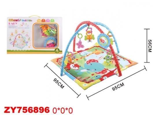Детский мягкий коврик Слоник и друзья, квадратной формы, мягкие дуги, пластиковые подвески, безопасное зеркало, в/к 95*95*56 см