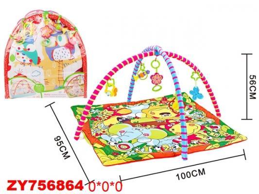 Детский мягкий коврик Друзья, квадратная форма, мягкие дуги, подвески, в/п
