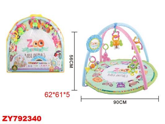 """Детский мягкий коврик """"Зоопарк"""", круглый, мягкие дуги, подвески, безопасное зеркало, р-р 56*90см, в/п 62*61*5 см цены онлайн"""