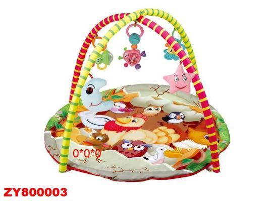 Детский мягкий коврик Птичий двор, круглая форма, мягкие дуги, подвески, в/к