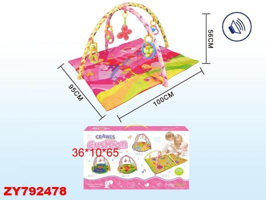 Детский мягкий коврик Розовый мир, квадратный, мягкие дуги, подвески, звук, р-р 95*100*56см, в/к 36*10*65 см констр р мягкий акула 47 деталей