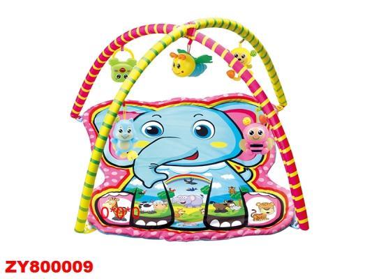 Детский мягкий коврик Слоненок, фигурная форма, мягкие дуги, подвески, в/п