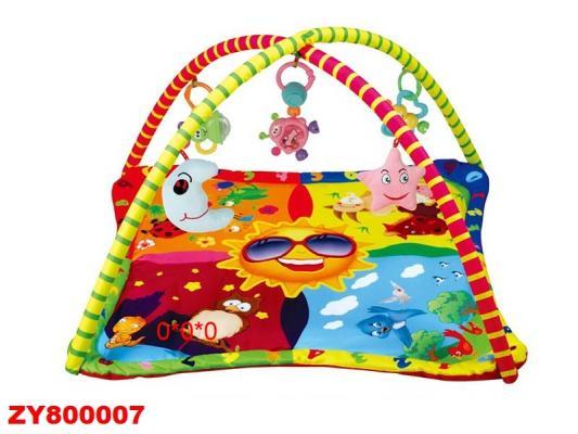 Детский мягкий коврик Солнышко, квадратная форма, мягкие дуги, подвески, в/к