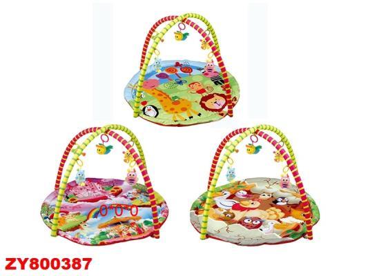 Детский мягкий коврик в ассорт., круглая форма, мягкие дуги, подвески, в/п
