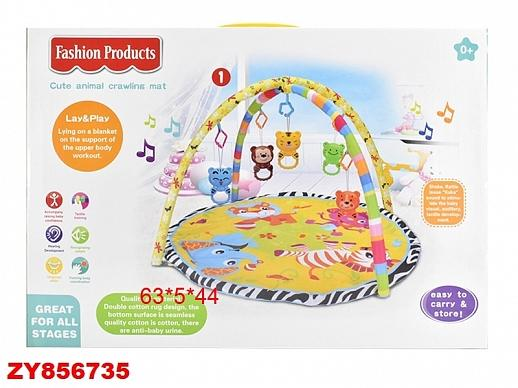Детский развивающий коврик, подвески и мягкие дуги в комплекте, в/к 63*5*44 см
