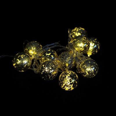 Гирлянда 10 шариков, 2,5м, цвет шариков золотой, в/к