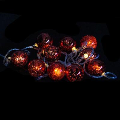 Гирлянда 10 шариков, 2,5м, цвет шариков красный, в/к