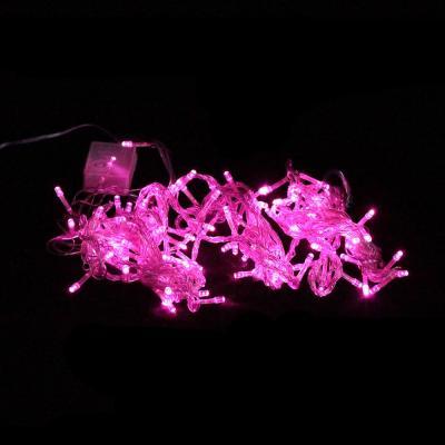 Гирлянда 100 ламп, 8м, розовая, 8 режимов, прозрачный провод, в/к