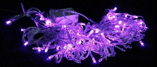 Гирлянда 9м, 100ламп, 8 режимов, фиолетовая, прозрачный провод, в/к