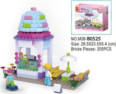 Купить Конструктор SLUBAN Магазин-мороженое 205 элементов, Пластмассовые конструкторы