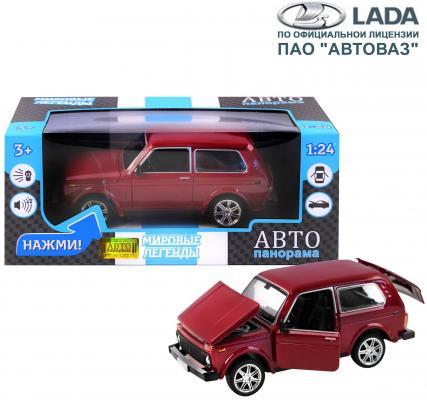 """ТМ """"Автопанорама"""" Машинка металл., ВАЗ 21214, масштаб 1:22, бордовый, инерция, откр. двери, капот и багажник, в/к 24,5*12,5*10,5 см капот 2121 21214 катафорезный грунт оао автоваз уценка"""