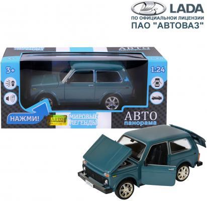 "ТМ ""Автопанорама"" Машинка металл., ВАЗ 21214, масштаб 1:22, синий, инерция, откр. двери, капот и багажник, в/к 24,5*12,5*10,5 см"