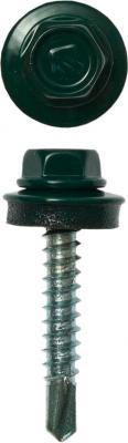 Саморезы СКД кровельные, RAL 6005 зеленый насыщенный, 35 х 4.8 мм, 380 шт, для деревянной обрешетки, ЗУБР Профессионал цена