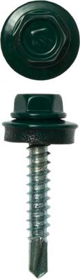 Саморезы СКД кровельные, RAL 6005 зеленый насыщенный, 65 х 4.8 мм, 180 шт, для деревянной обрешетки, ЗУБР Профессионал цена