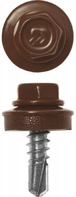 купить Саморезы СКМ кровельные, RAL 8017 шоколадно-коричневый, 25 х 5.5 мм, 420 шт, для металлических конструкций, ЗУБР Профессионал по цене 710 рублей