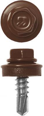 Саморезы СКМ кровельные, RAL 8017 шоколадно-коричневый, 25 х 5.5 мм, 1 800 шт, для металлических конструкций, ЗУБР Профессионал цена