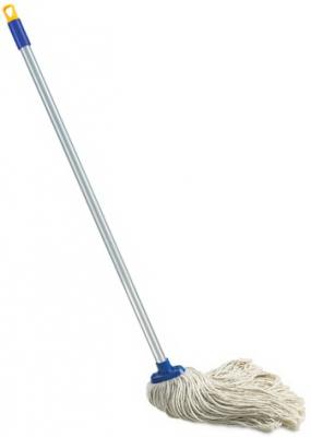 Швабра с веревочной насадкой, черенок 120 см, еврорезьба, 165 г (хлопок), ворс 26 см, ЛАЙМА, 601470