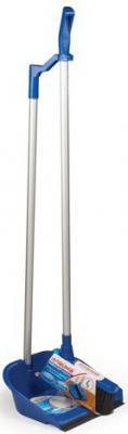 Совок для мусора ЛАЙМА со щеткой-сметкой, алюминиевая ручка 70 см, пластик, резиновая кромка, для дома и офиса, 601472 совок для мусора с щеткой fratelli re mini 11701 a