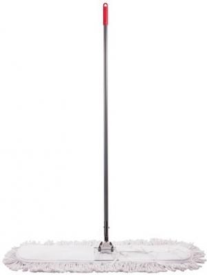 Швабра-рамка 90 см, стальной черенок 125 см, цельный держатель, МОП с завязками, хлопок, ЛАЙМА, 603603 держатель рамка лайма