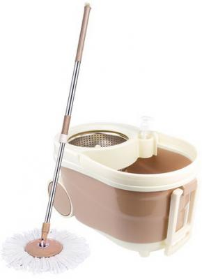 Набор для уборки ЛАЙМА, ведро 9 л с отжимом на колесах, швабра с круглой насадкой (2 шт., кольцо), 603621 цена и фото