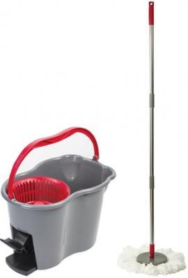 Набор для уборки ЛАЙМА, ведро 7 л с отжимом и педалью, швабра с круглой насадкой (2 шт., кольцо), 603622 цена и фото