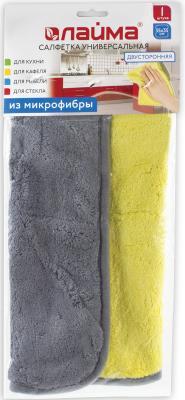 Салфетка универсальная двусторонняя, плотная микрофибра (плюш), 35х35 см, желтая/серая, ЛАЙМА, 604686 еж стайл линейка color animals желтая утка 18 5 см