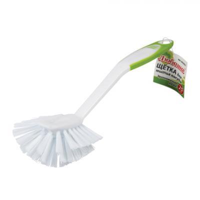 Щетка для мытья посуды ЛЮБАША, 25 см, пластик, ручка с ПВХ-покрытием, 603631