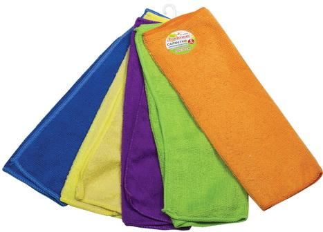 Салфетки универсальные, КОМПЛЕКТ 5 шт., микрофибра, 30х30 см (фиолетовая, синяя, желтая, зеленая, оранжевая), ЛЮБАША, 603942 милана ультратонкие прокладки женские ультра супер софт 10 шт