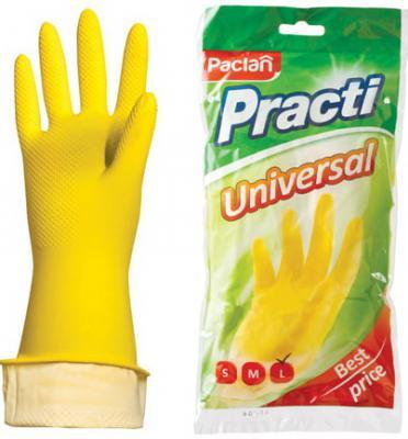 """Перчатки хозяйственные резиновые PACLAN """"Universal"""", с х/б напылением, размер L (большой), желтые стоимость"""