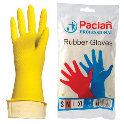 """Перчатки хозяйственные резиновые PACLAN """"Professional"""", с х/б напылением, размер M (средний), желтые"""