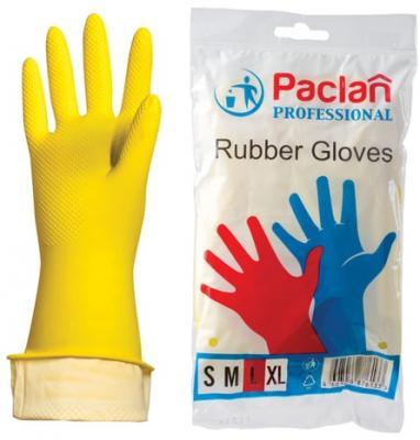"""Перчатки хозяйственные резиновые PACLAN """"Professional"""", с х/б напылением, размер L (большой), желтые стоимость"""