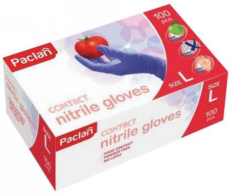 Перчатки нитриловые, КОМПЛЕКТ 50 пар (100 штук), размер L (большой), PACLAN, 136222 стоимость