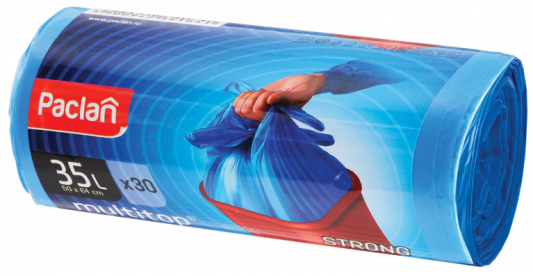Мешки для мусора, 35 л, с ушками, синие, в рулоне 30 шт., ПНД, 10,5 мкм, 50х64 см, PACLAN Multitop цена