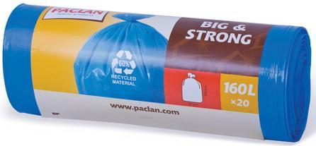 "Мешки для мусора 160 л, синие, в рулоне 20 шт., ПВД, 20 мкм, 120х87 см, PACLAN ""Big&Strong"" цена 2017"