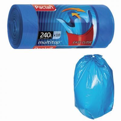 Мешки для мусора 240 л, с ушками, синие, в рулоне 10 шт., ПВД, 40 мкм, 90х145 см, PACLAN Multitop, 134451 цена