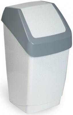 Ведро-контейнер 15 л, с крышкой (качающейся), для мусора, Хапс, 46х26х25 см, серое, IDEA, М 2471 мусорный контейнер 15 л с подвесной крышкой idea хапс м 2471 мрамор