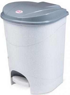 Ведро-контейнер 19 л, с крышкой и педалью, для мусора, 38х29х30 см, серое, IDEA, М2892 контейнер для хранения idea прямоугольный цвет салатовый прозрачный 8 5 л