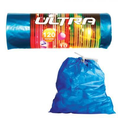 Мешки для мусора 120 л, с завязками, синие, в рулоне 10 шт., ПВД, 30 мкм, 70х110 см, КОНЦЕПЦИЯ БЫТА Ultra, 1725 мешки для мусора концепция быта 120 л 10 шт