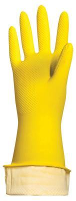 """Перчатки хозяйственные латексные ЛАЙМА """"Стандарт"""", МНОГОРАЗОВЫЕ, хлопчатобумажное напыление, размер М (средний), 600353 цена в Москве и Питере"""