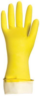 """Перчатки хозяйственные латексные ЛАЙМА """"Премиум"""", МНОГОРАЗОВЫЕ, хлопчатобумажное напыление, суперплотные, M (средний), 600571"""