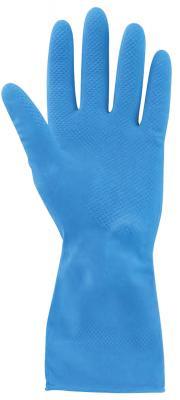 Перчатки хозяйственные нитриловые ЛАЙМА ПРОЧНЫЕ, МНОГОРАЗОВЫЕ, хлопчатобумажное напыление, размер L (большой), синие, 604999